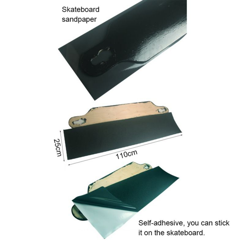 Skateboard Sandpaper PVC Professional Black Skateboard Deck Sandpaper For Skirting Board Longboarding Viscous Strong