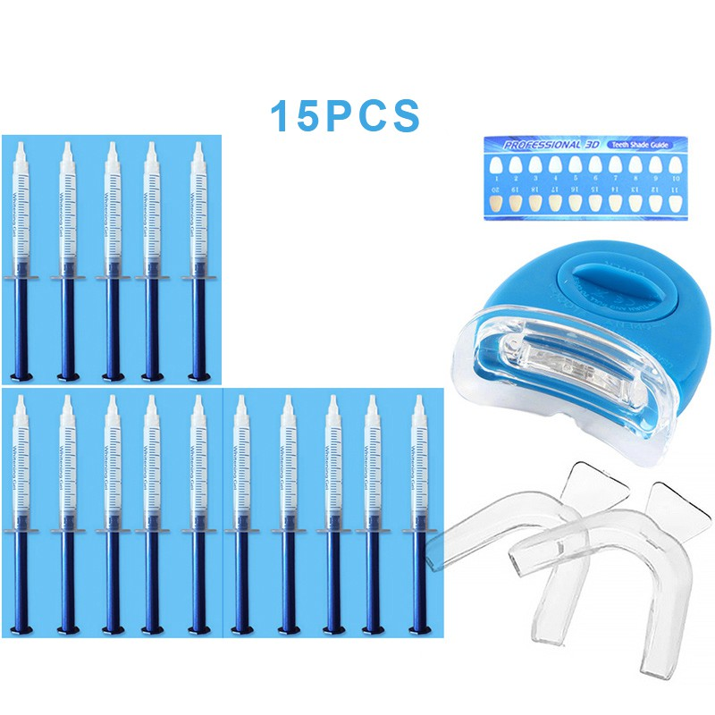 Pro Teeth Whitening Kit Beautiful Tooth Lamp + 15 Gels + 2 Braces + Color Card + Manual Peroxide Oral Hygiene Tool Kit
