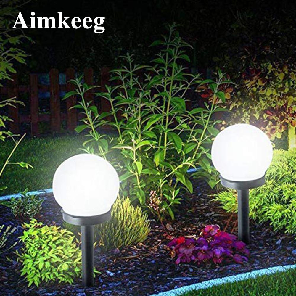 2 pçs led energia solar alimentado lâmpada do bulbo à prova dwaterproof água ao ar livre jardim bola luz gramado luzes da noite led lâmpada solar para decoração do feriado