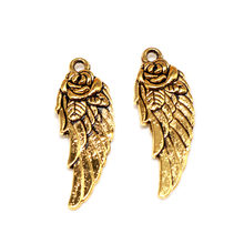 20PCS Tibetan Silver Plated Angel Wing Spacer Beads Pendant Retro Pendant Charms Diy Jewelry Making(China)