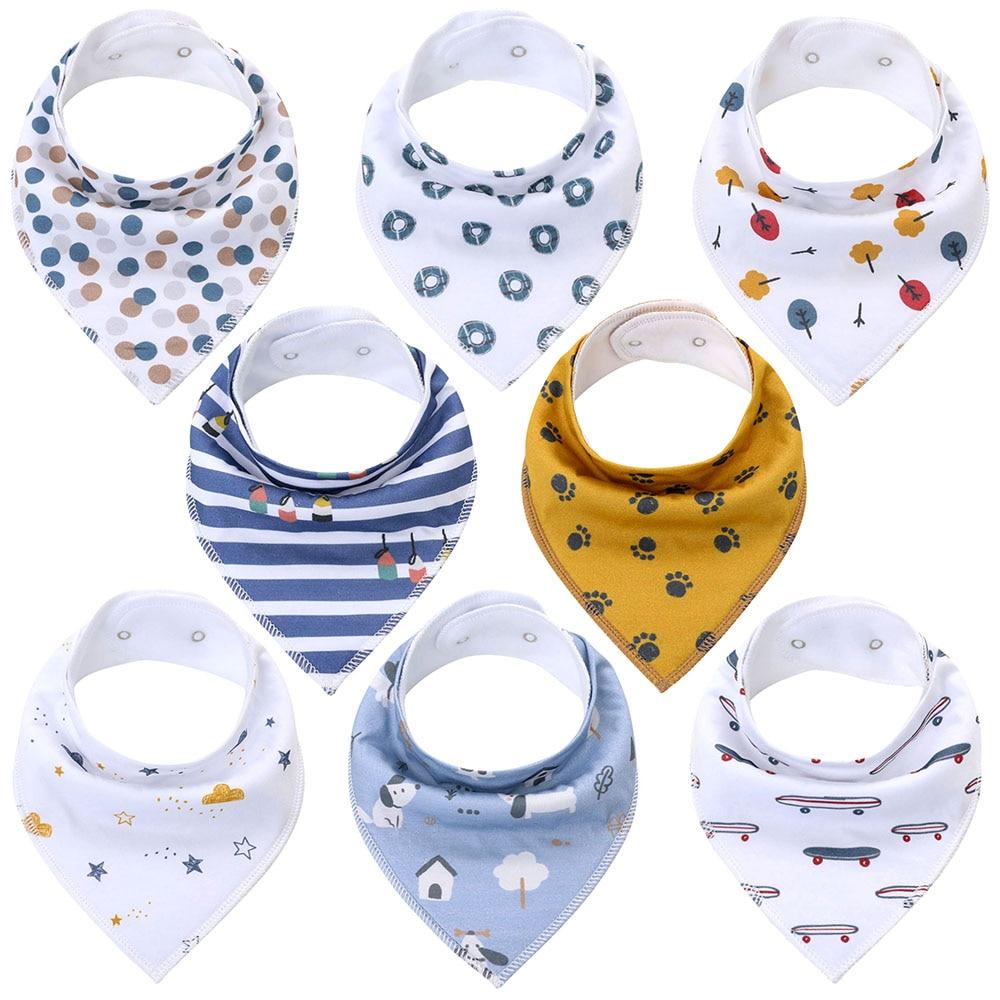 6 Pack Baby Bibs Super Absorbent Pure Cotton Bandana Dribble Bib Cartoon Design Gift Set 0-3 Years
