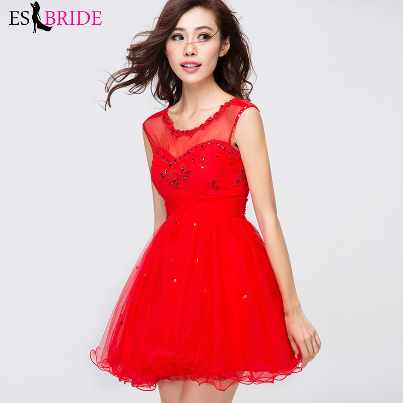 Red Cocktail Dresses ES30022 Short Sleeve Mini Prom Dress Formal Ball Gown Party Gowns Vestido Coctel 2019