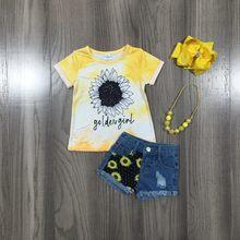 Girlymax verão do bebê meninas roupas de manga curta babados boutique girassol goldengirl jeans shorts conjunto roupas combinar acessórios