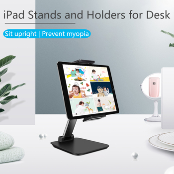 Adjustable Aluminum Desktop Tablet Phone Holder Stand Table Foldable Extend Support Desk Cell Phone Mount with Clip For iPad
