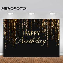 Feliz aniversário festa fotografia fundos ouro preto banner brilhante pano de fundo photoshoot estúdio photocall photozone decoração
