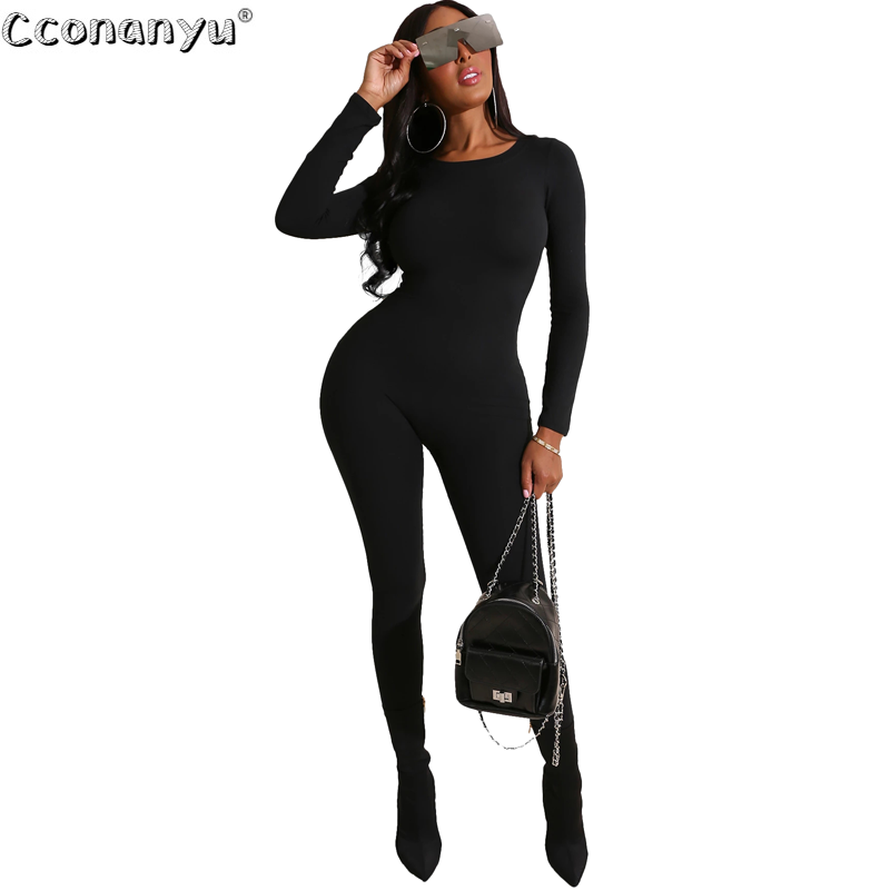 Jumpsuit For Women 2020 Sexy Long Sleeve Elegant Black Green Round Neck Rompers Womens Bodycon Jumpsuit Club Party