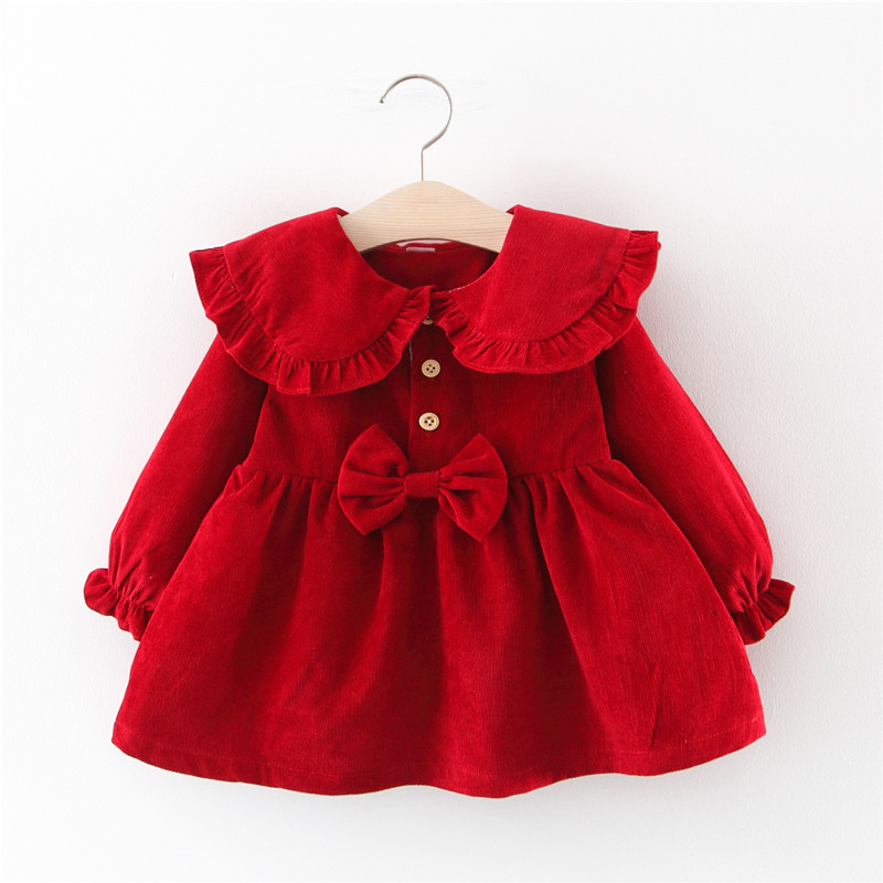 Baby Girl Dress Baby Princess Dresses Autumn Corduroy Bow Long Sleeves Clothing Baby Girl Clothes Spring Infant Toddler Dress