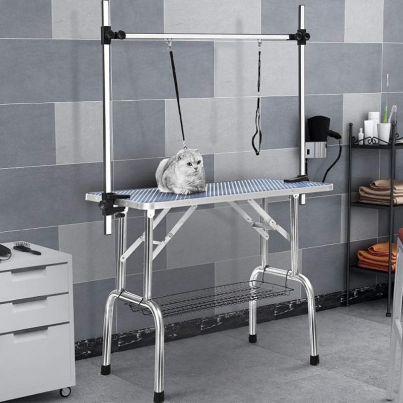 Table Dog Grooming Pet 90*76*60cm Foldable Pet Beauty Desk Home Dog Grooming Table Folding Adjustable Metal Table With Noose HWC