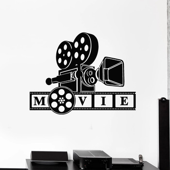 Camera Filming Movie Lover Wall Decal Bedroom Decor Cinematography Art Room Stickers Mural Vinyl Home Interial Stickers W987 image