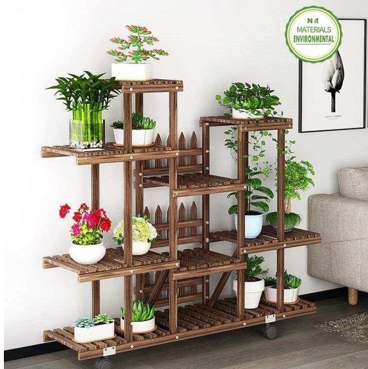 flower rack plant stand multi wood shelves bonsai display shelf indoor outdoor indoor yard garden patio balcony flower stands