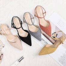 Sandales à talons hauts et à bout pointu pour femme, chaussures à dos en Faux daim, Sexy, couleur solide, pour bureau, carrière, collection 2020