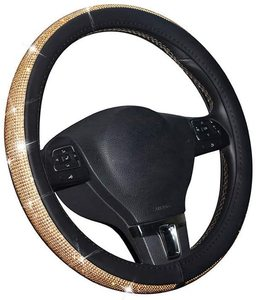 AUTOYOUTH Bling Steering Wheel Cover for Women PU Leather with Crystal Rhinestones Universal for 37 to 38 CM Car Accessories(China)