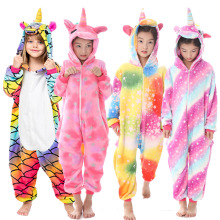 Фланелевые комбинезоны с животными для детей; пижамы для девочек; Детский комбинезон с единорогом и котом для мальчиков; зимняя одежда для сна с рисунками животных; От 4 до 12 лет