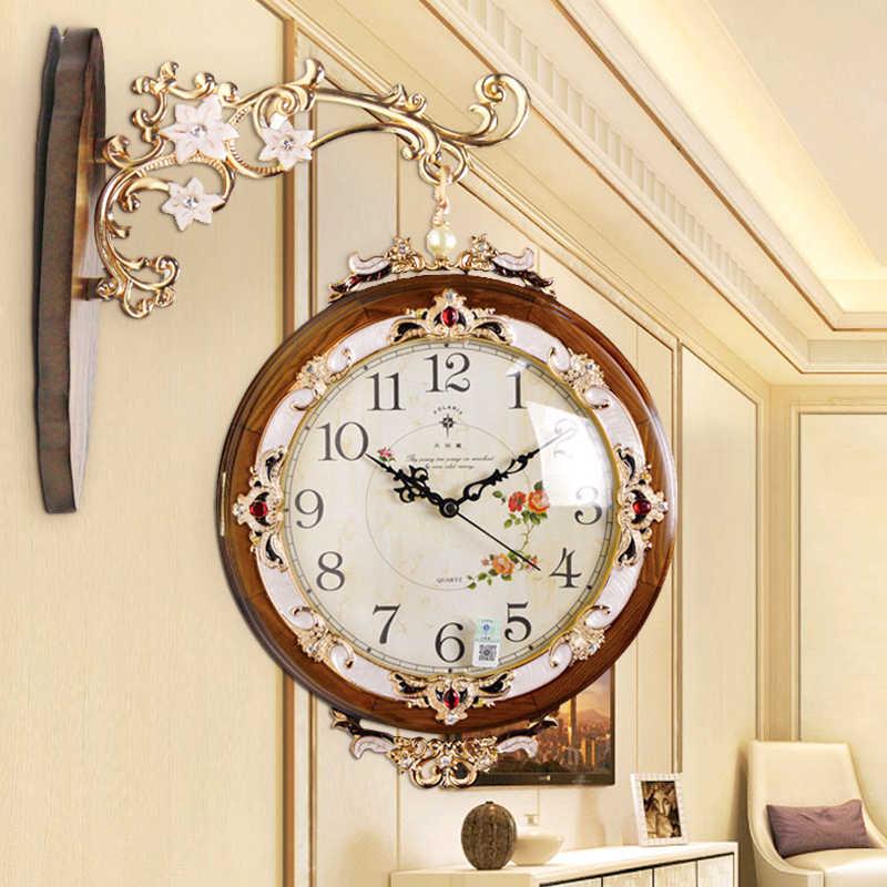 Europäische Doppel Seite Wanduhr Wohnzimmer Kreative Mode Uhr Zwei Wanduhr  Einfache Stumm Uhren Reloj De Pared 9wc9