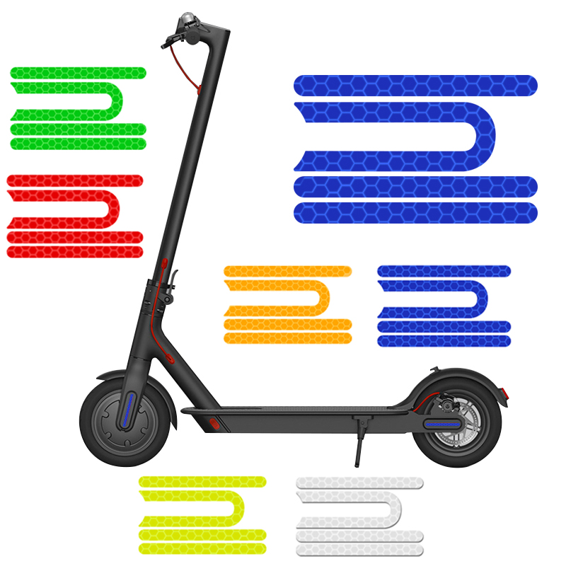 4Pcs/set For Xiaomi Mijia M365 Pro Electric Scooter Reflective Sticker Reflector For Safety Night Riding Cycling Scooter Parts