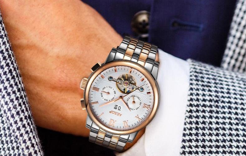 luxo 2019 aço inoxidável automático relógio de