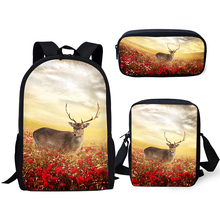 HaoYun Fashion Children Backpack Kawaii Deer Pattern School Bags Cute Animal Students 3PCs Set Backpack/Flaps Bags/Pen