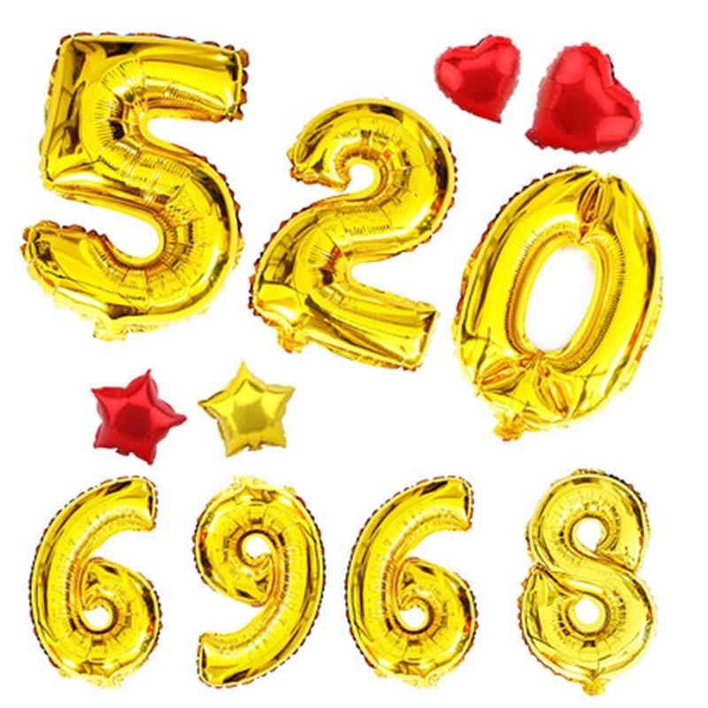 1 buc 16inch Gold Silver Number 0-9 baloane cu folie digitală - Produse pentru sărbători și petreceri - Fotografie 4