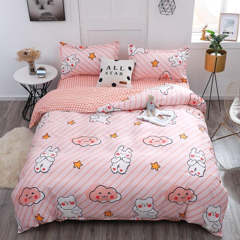 Pink 220 240 Duvet Cover Set Pillowcase Cartoon Bunny Comforter 3pcs Bedding Sets King Size Single Full Double Quilt Cover 2020 Duvet Cover Aliexpress