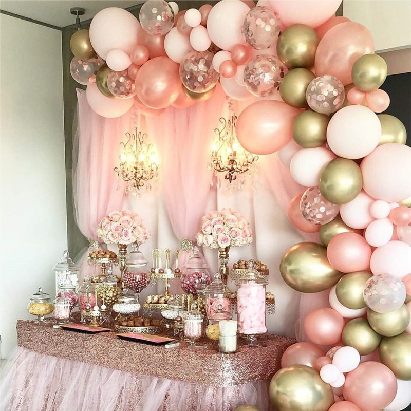 Rose Gold Pink Balloon Garland Arch Kit Chrome Gold Birthday Party Decoration Diy Balloons Baby Shower Wedding Party Supplies Ballons Accessories Aliexpress