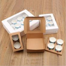 30pcs/lot 2/4/6/12 Holes Wedding Cake Box Cupcake with window White Brown Kraft Paper Boxes Dessert Mousse