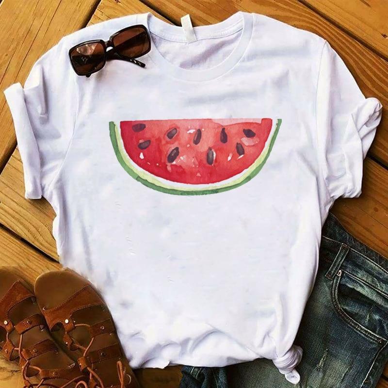 Fashion Women T Womens One Piece Watermelon Cute Fruit Female Tee Shirt Graphic Top Tshirt Femme Ladies Clothes T-shirt