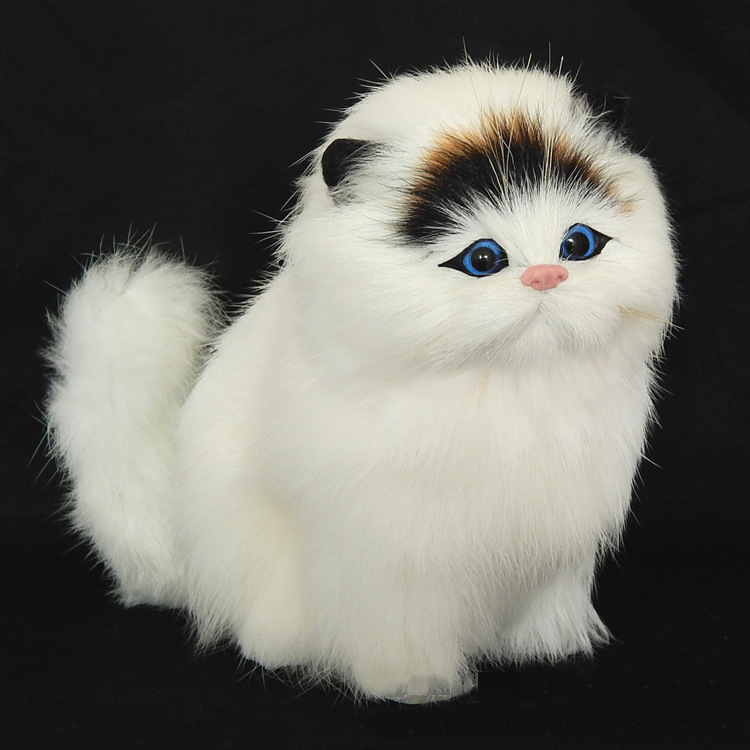 Real Hair Electronic Pets Cats Dolls Simulation Animal Cat Toy Children's Cute Pet Plush Toys Model Ornaments Xtmas Gift