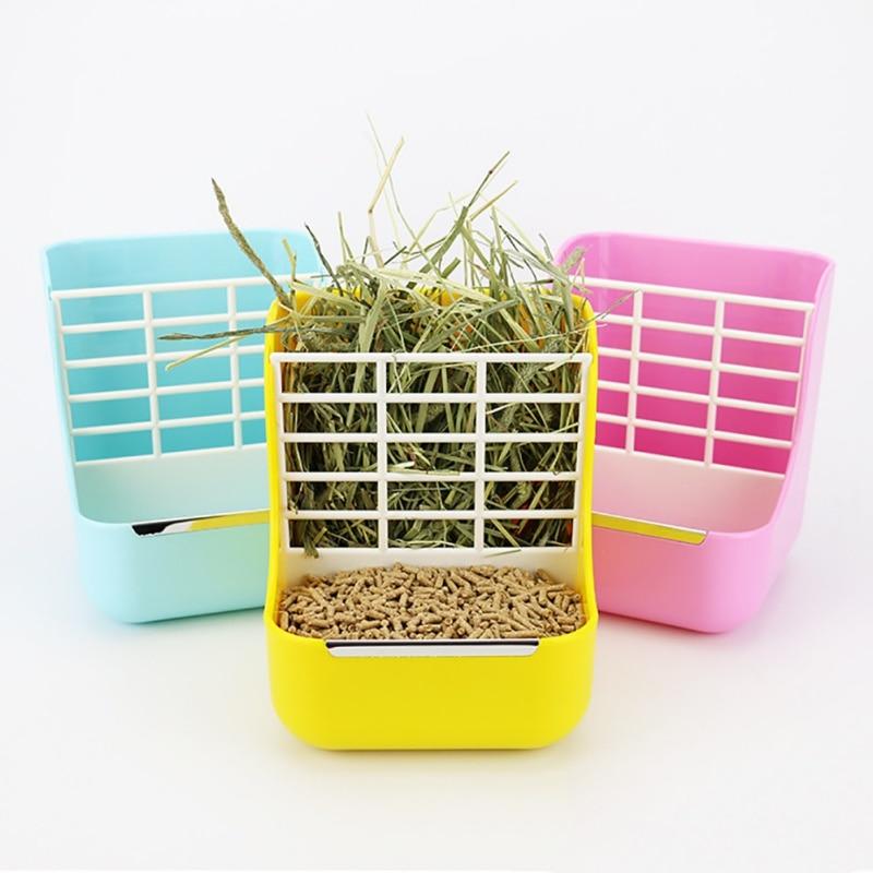 2in1 Pet Feeder Grass Rack Rabbit Food Pot Fixed Food Bowl Shelf Hamster Chinchillas Feeder Box Small Pet Supplies 2020