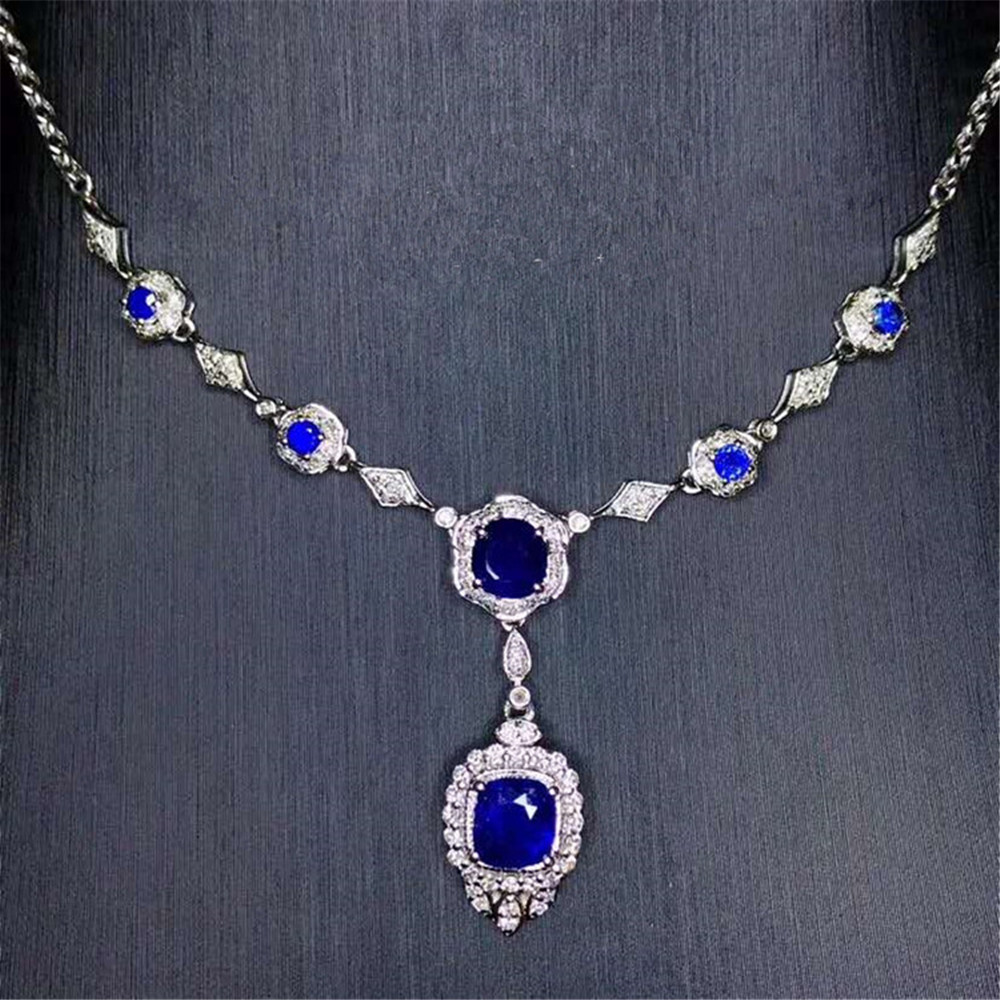 Luxury Wedding 18k Gold Jewelry Women Stone Necklace 3.12ct Natural Sapphire Pendant Necklace 2