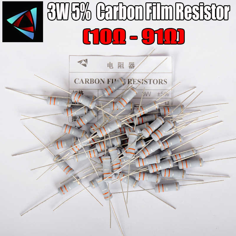 10 Pcs 3W Carbon Film Weerstand 5% 1R ~ 1M 10R 12 15 18 20 22 24 27 30 33 36 39 43 47 51 56 62 68 75 82 91 Ohm