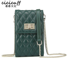 Ladies Small Quilted Bag Genuine Leather Shoulder Bag for Women Cell Phone Purse Sheepskin Crossbody Messenger Bags Sac a Main