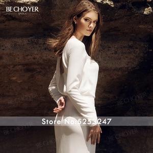 Image 5 - BECHOYER Simple Long Sleeve Wedding Dress 2020 Fresh Backless Mermaid Train H Quality Customized Bride Vestido de Noiva AB35