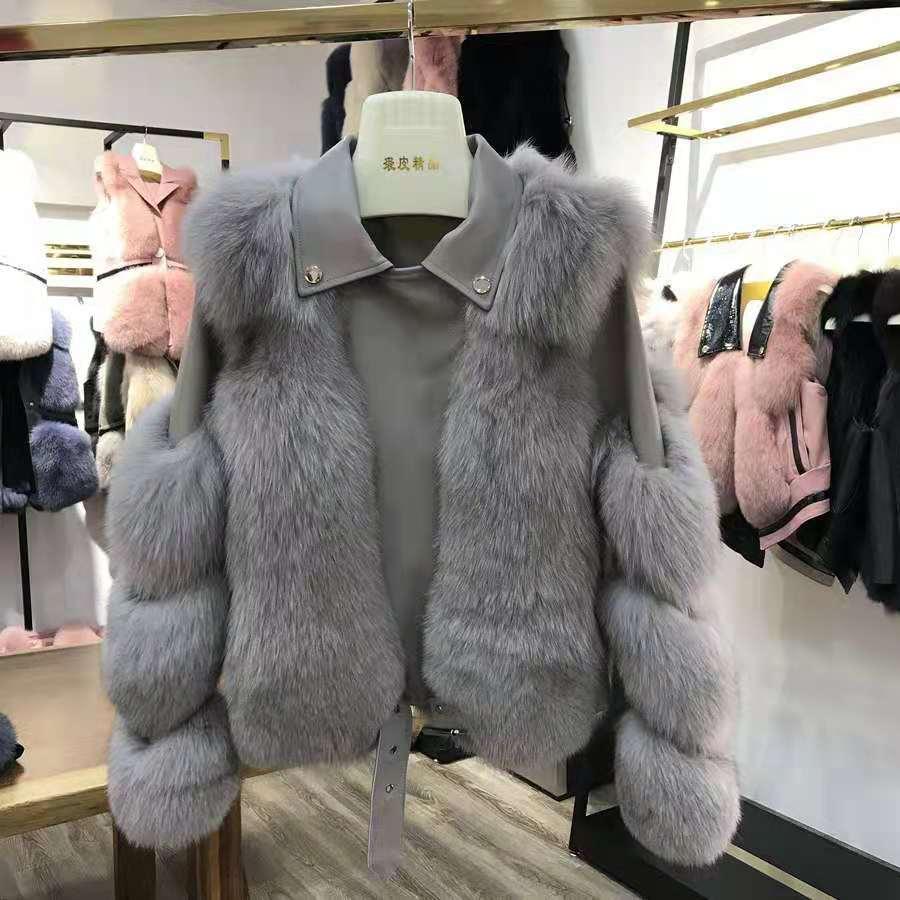 Hcc2b0e9d682c4fa5b39b9c6a9d1299f11 Women Faux Fur Coat with Fox Fur Winter Fashion 2021 New Motocycle Style Luxury Fox Fur Leather Jackets Woman Trendy Overcoats