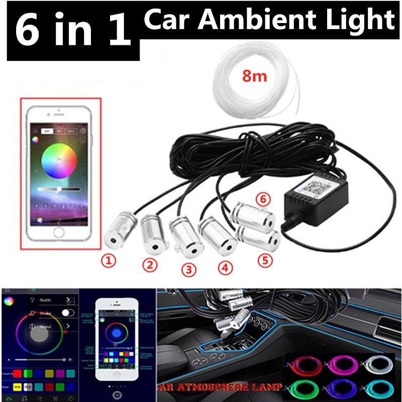 6 in 1 RGB Atmosfera LED Light Car Interior Ambiente di Luce in Fibra Ottica Strisce di Luce da App di Controllo di Musica FAI DA TE 8M In Fibra Ottica Fascia