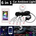 6 in 1 RGB LED Atmosphäre Auto Licht Innen Umgebungs Licht Fiber Optic Streifen Licht durch App Control DIY Musik 8M Fiber Optic Band