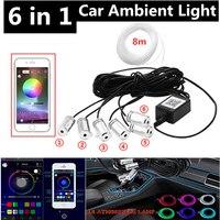 6 en 1 RGB LED atmósfera luz del coche luz de ambiente Interior de fibra óptica tiras de luz de Control de la aplicación de música de 8M de banda de fibra óptica