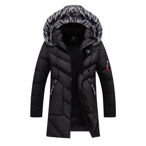 Image 2 - Parkas gruesas para hombre Abrigos con capucha de piel de lana abrigos con capucha de invierno cálidos para hombre chaqueta impermeable Parkas para hombre prendas de vestir abrigos ropa