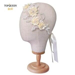 Image 2 - TOPQUEEN H346 Mode Braut Haar Zubehör Für Frauen spitze Blume mit perlen Perle Hairband Braut Hohe Qualität Haar Schmuck