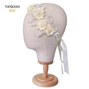 Image 2 - TOPQUEEN H346 Mode Bruids Haar Accessoires Voor Vrouwen kant Bloem met kralen Parel Haarband Bruid Hoge Kwaliteit Haar Sieraden