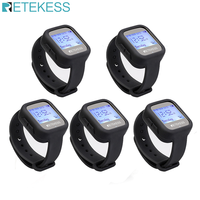Retekess 5pcs TD106 Wireless Watch Receiver 433MHz Multi language Pager Waiter Calling System Restaurant Pager Customer Service|Pagers|Cellphones & Telecommunications -