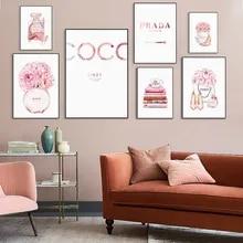 Moda coco citações poster rosa flor perfume mulher arte da parede pintura em tela abstrata moderno vogue fotos para a decoração do quarto da menina