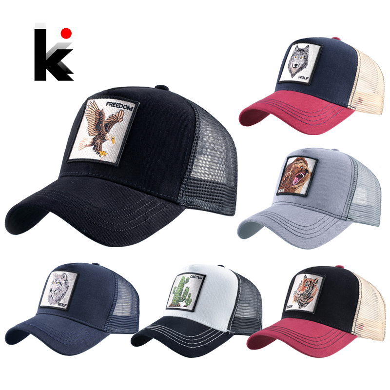 Fashion Animals Embroidery Baseball Caps Men Women Snapback Hip Hop Hat Summer Breathable Mesh Sun Gorras Unisex Streetwear Bone