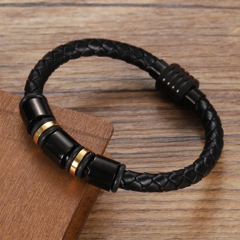 MingAo-Bracelets perlés en cuir personnalisés pour hommes, breloque Chakra monocouche, couleur or/noir, Bracelets pour femme 5