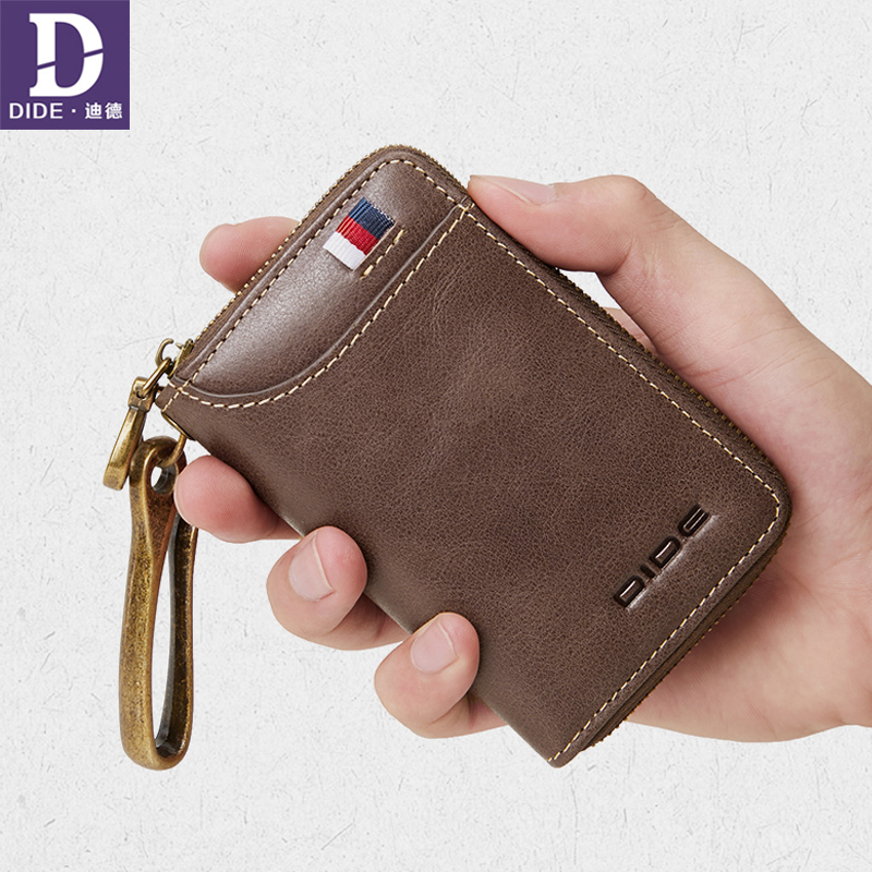 DIDE Genuine Leather Car Key Bag Women Wallet Case Housekeeper Keychain Cover Zipper Card Holder Key Organizer Coin Purse Men