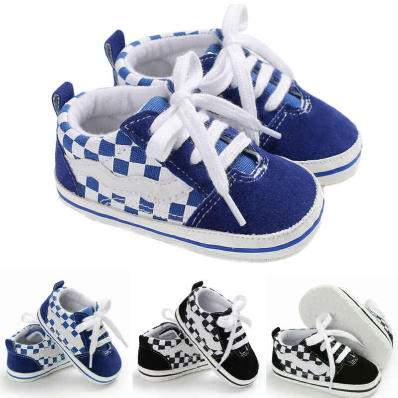 Newborn Infant Toddler Baby Boy Crib Shoes Sapatas de Lona Listrado Prewalkers Anti-Deslize Primeiro Walkers Suave Sole Sneakers Formadores 0 -18 M