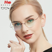 Meeshow Titanium prescription glasses men women rould glasses Ultralight Eyeglasses Retro myopia Korea screwless optical frame