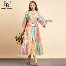 Ld linda della novo 2021 verão designer de moda algodão vestido feminino manga alargamento impresso boho feriados festa vintage longo vestido