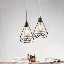 Modern Pendant Light Black Iron Hanging Cage Vintage Led Lamp E27 Industrial Loft Retro Dining Room Restaurant Bar Counter(China)