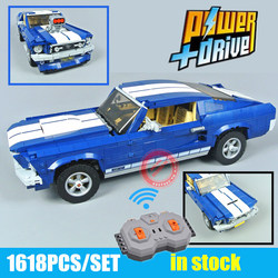 New GT500 1967 Ford Mustang Technic MOTOR POWER FUNCTIONS Fit Legoings Technic Model Building Blocks Bricks Toy Kid Gift