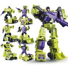 G1 Transformation Devastator 6 IN 1 ชุดอลูมิเนียมโลหะวิศวกรรมรถบรรทุกรุ่น KO รูปหุ่นยนต์หุ่นยนต์การเปลี่ยนรูปของเล่นเด็กของขวัญ